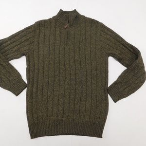 Oscar de la Renta M Brown 1/4 Zip Sweater  Cotton